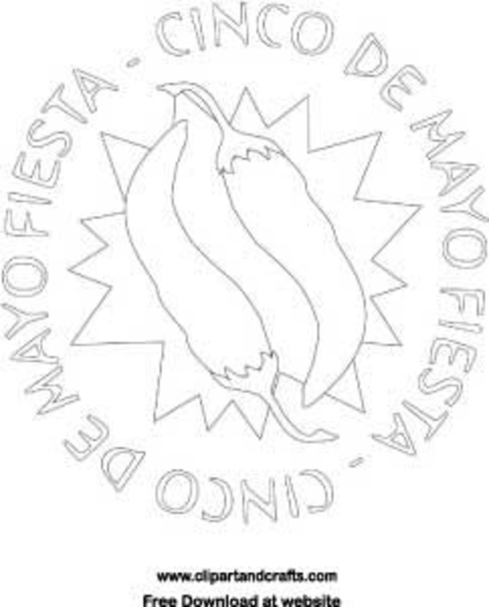 Cinco de Mayo chili peppers digital stamp or coloring page