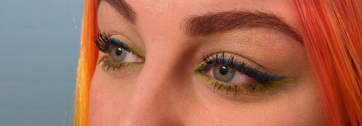 Fully lined neon eyeliner is easy with eyeshadows that can double as eyeliner using an angled liner brush!