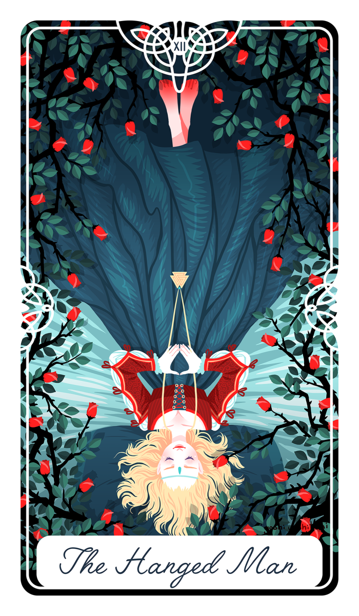You can only contort yourself so far before you've gone too far. The Hanged Man card is about changing directions. You need to surrender your old habits and replace them with habits that better serve you in the present.