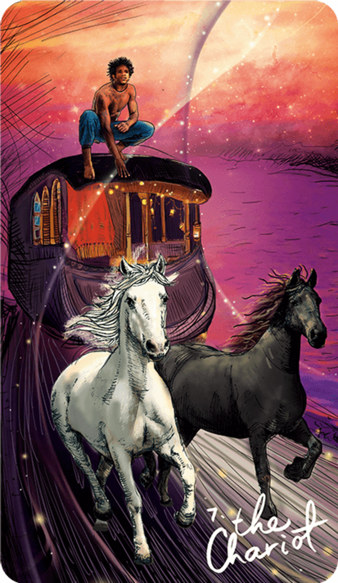 The Chariot encourages you to move. You must accept dual forces in order to move. You have to be open to both your heart and your mind.
