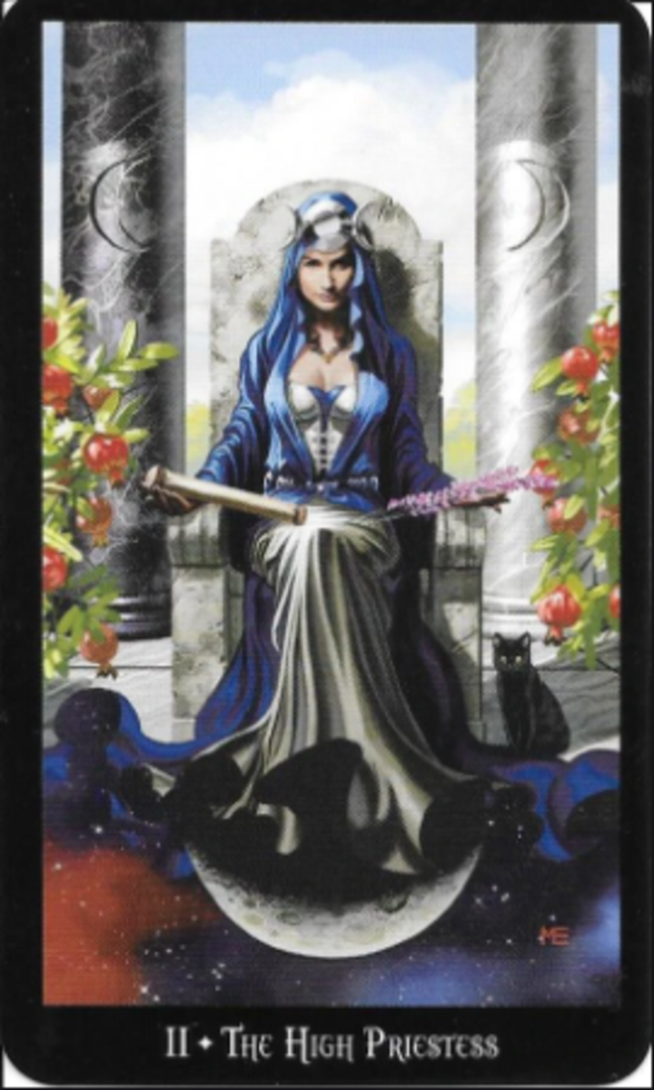 The High Priestess invites you to explore both your conscious and subconscious mind. She is the gateway to knowledge, particularly of femininity. She has a connection to the Divine. People seek her for both mental and physical help.