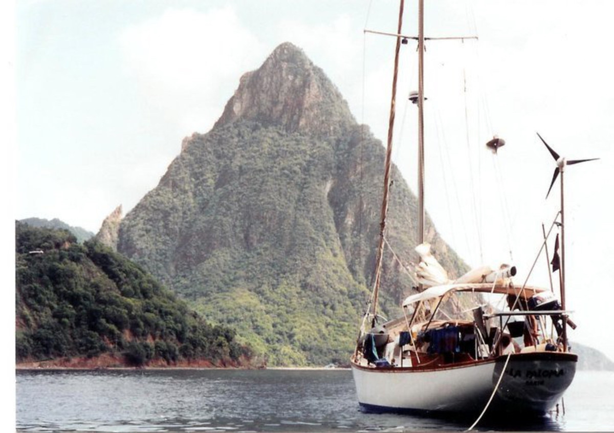 My old sailboat and former home, a 1967 Pearson Vanguard. In this photo I'm anchored off of the Pitons of St. Lucia.