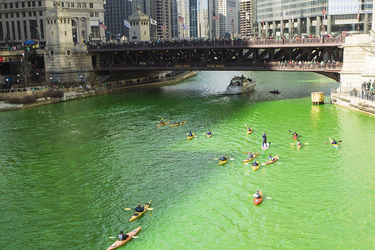 The Chicago River has been dyed green on St. Patrick's Day, March 17 every year since 1962.