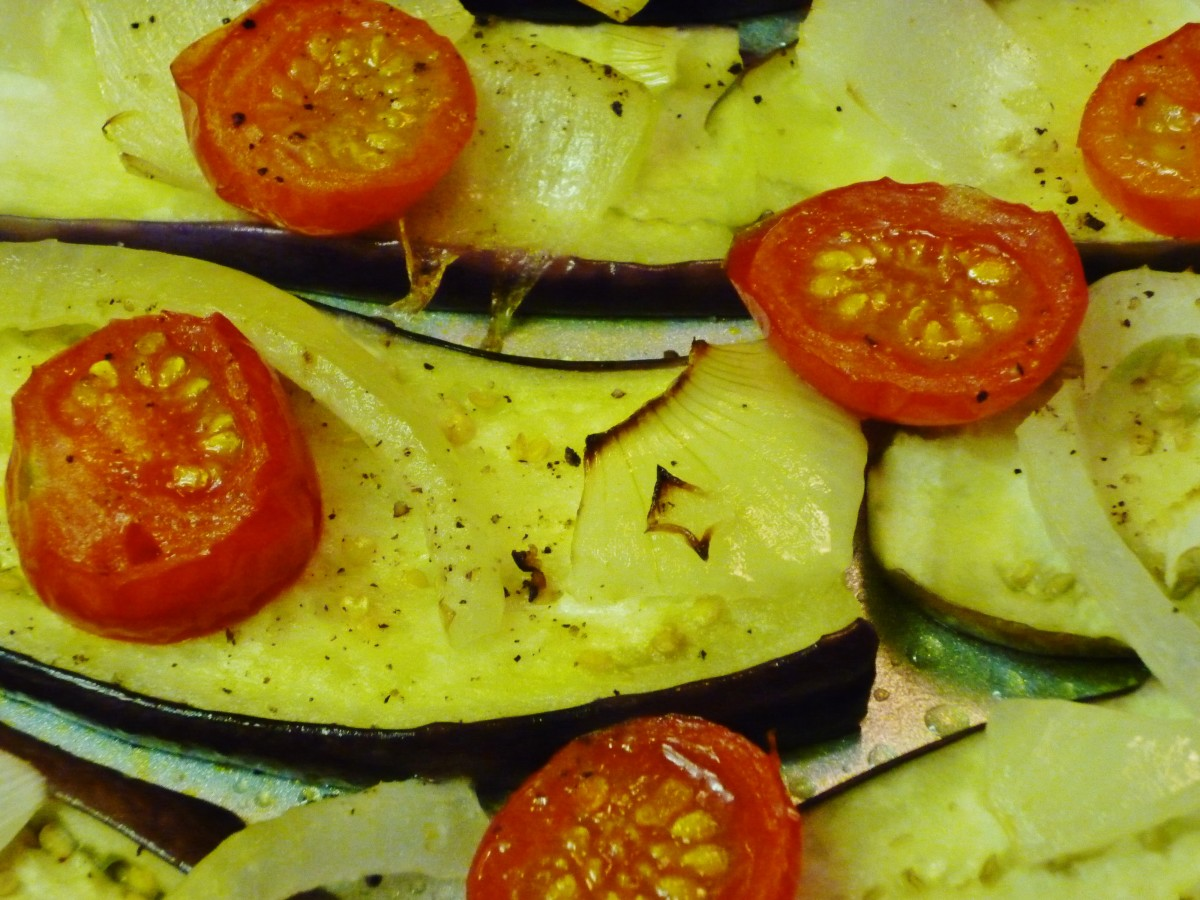Roasted vegetables readied to be made into vegetarian lasagna.
