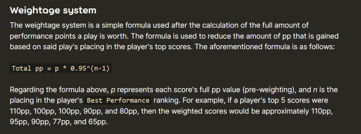 Weightage formula