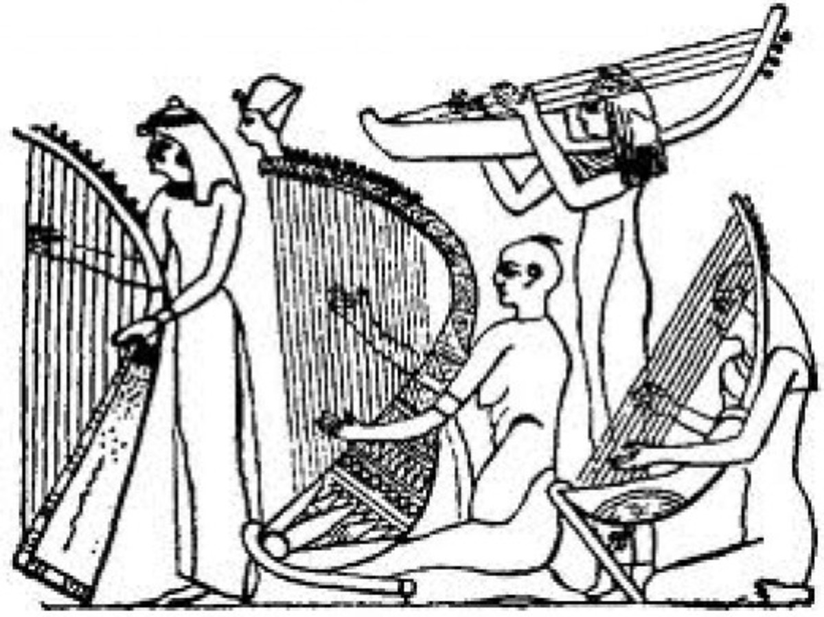 Harps came in all shapes and sizes. Known as harps, lyres, and psalteries. There were guitar type instruments of four strings and ten strings.