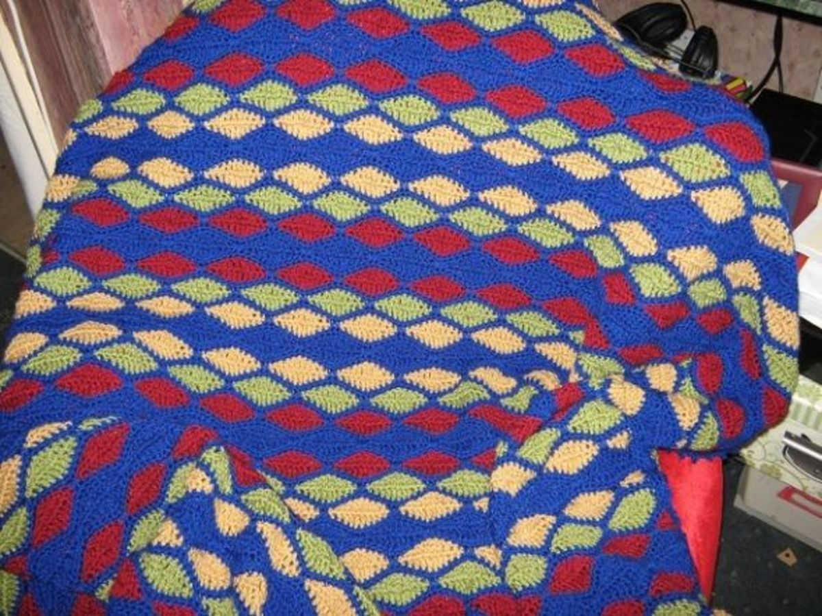 This uses the same stitch as for my Royal Wedding bag, but on a huge scale - I made it into a warm afghan in primary colours for my nephew and his partner, as a housewarming gift.