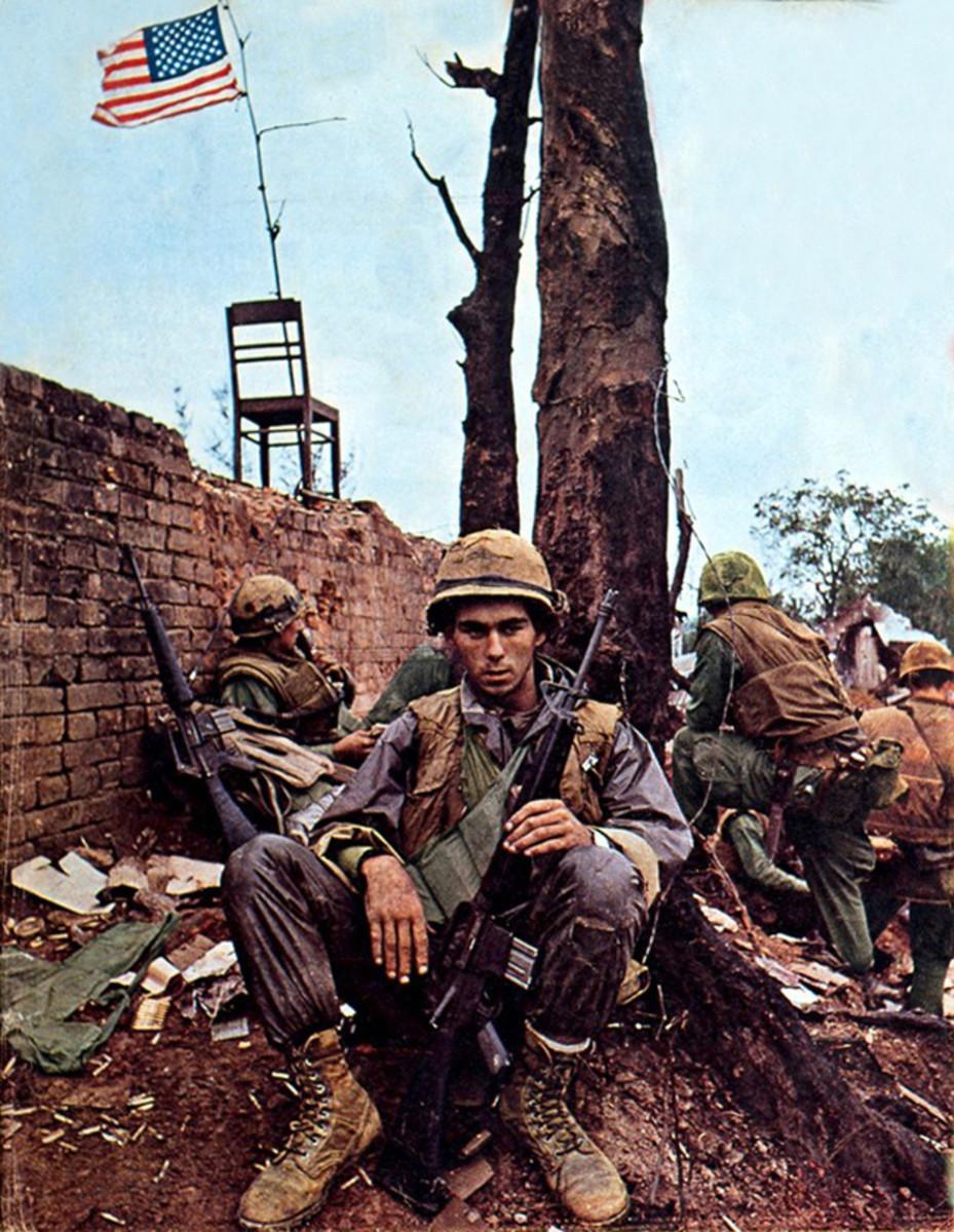 Marines taking a bread inside the Citadel of Hue.