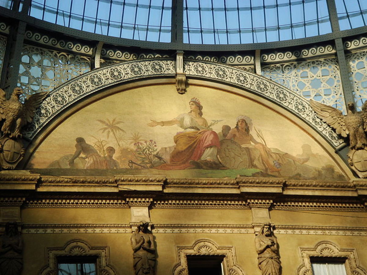 Showing one of the frescoes and detail work inside of the Galleria Vittorio Emanuele II