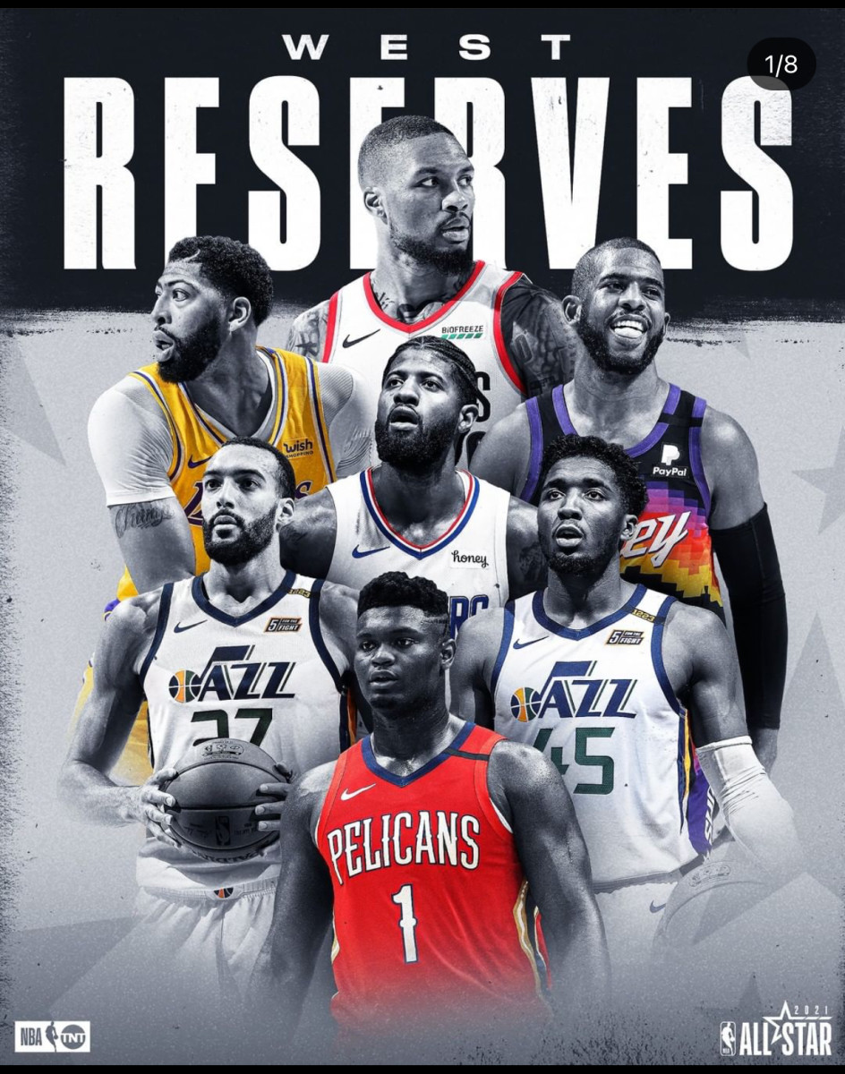 The reserves are the following: Damian Lillard, Anthony Davis, Chris Paul, Paul George, Rudy Gobert, Donovan Mitchell, Zion Williamson. (Devin Booker Replaces Anthony Davis due to injury)