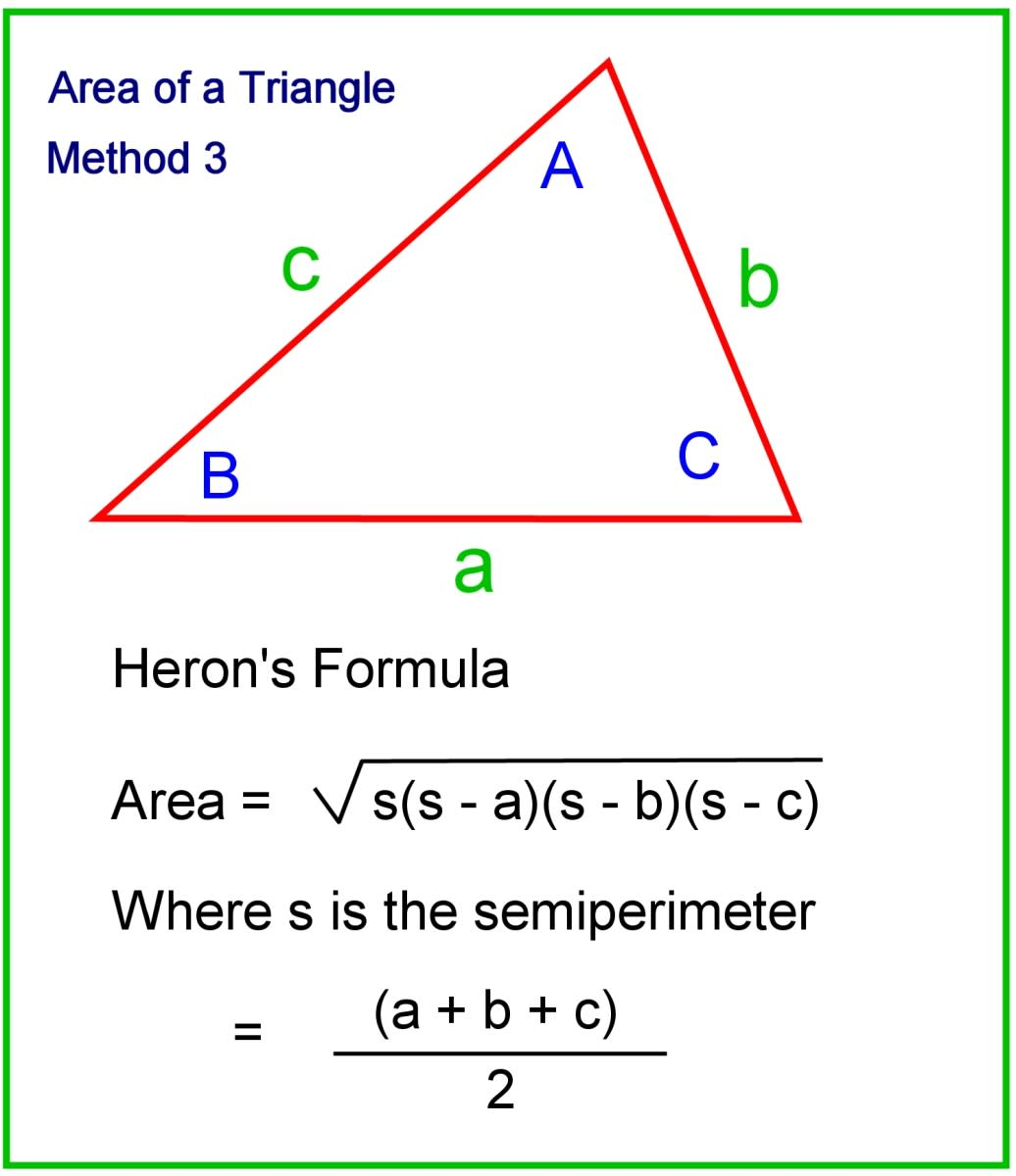 Using Heron's formua to work out the area of a triangle.
