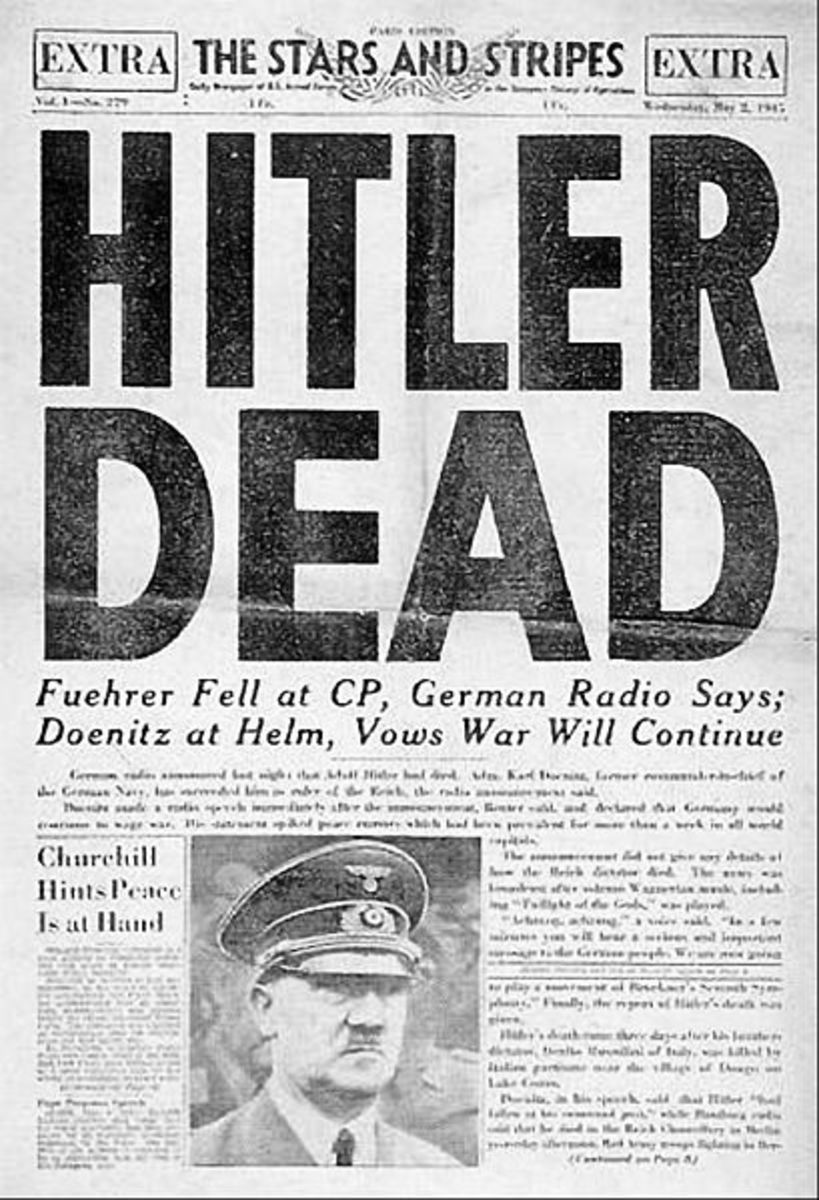 The front page of the official US Army Newspaper published shortly after Hitler's death.