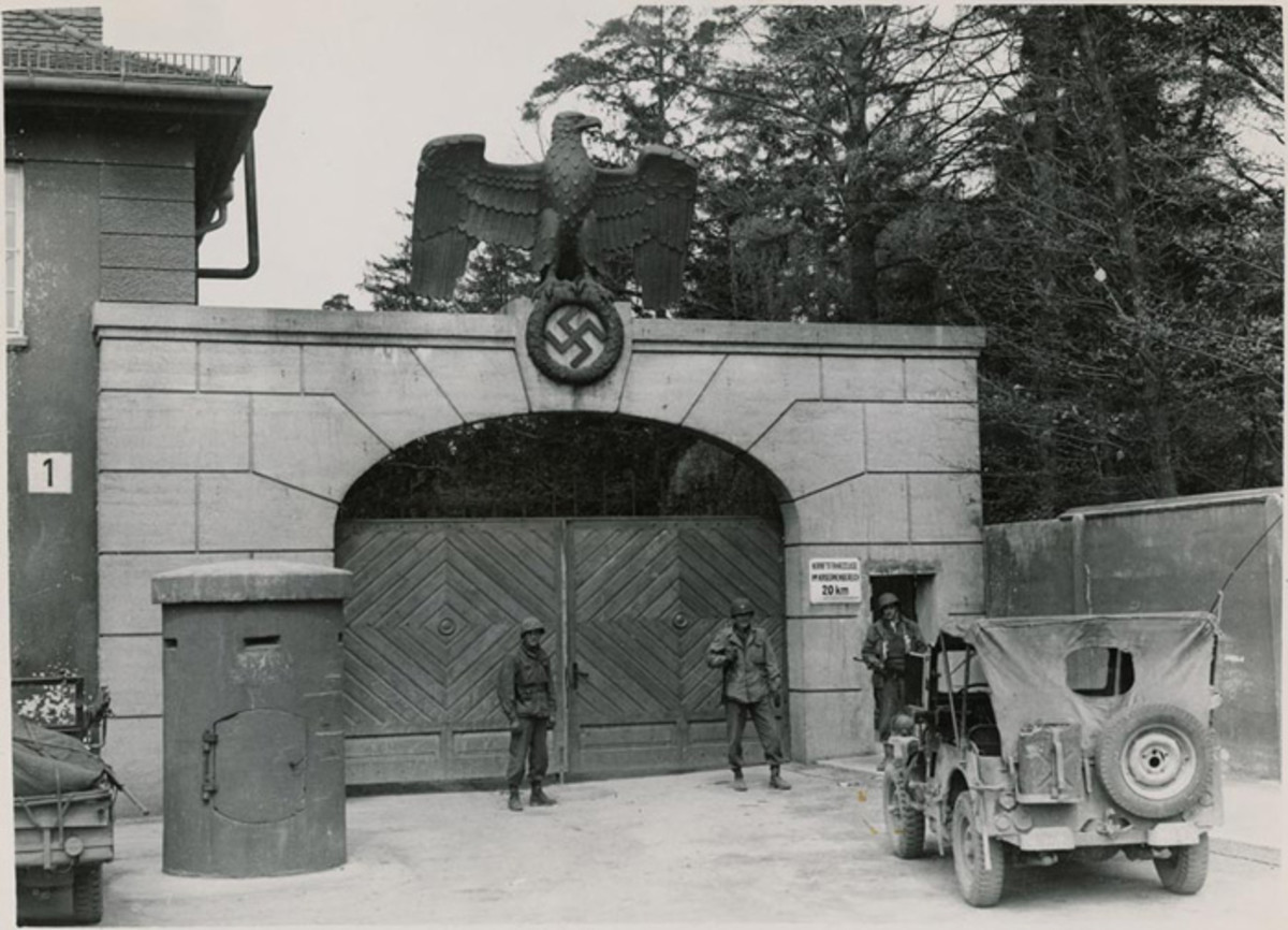 Dachau Concentration Camp, guarded by American troops shortly after its liberation in April 1945.