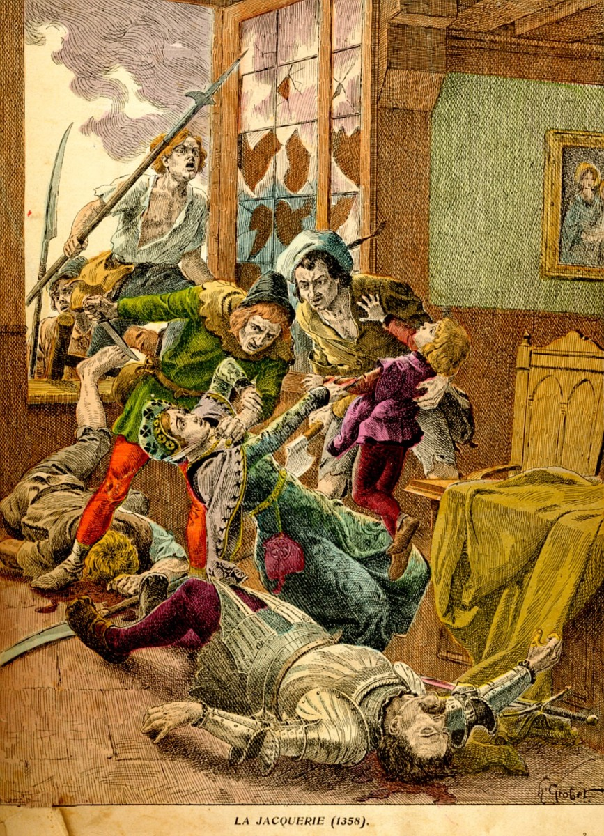 Probably the most famous French peasant revolt other than the French Revolution, the Jacquerie, in the middle of the Hundred Years War, saw French peasants rise up against their feudal lords