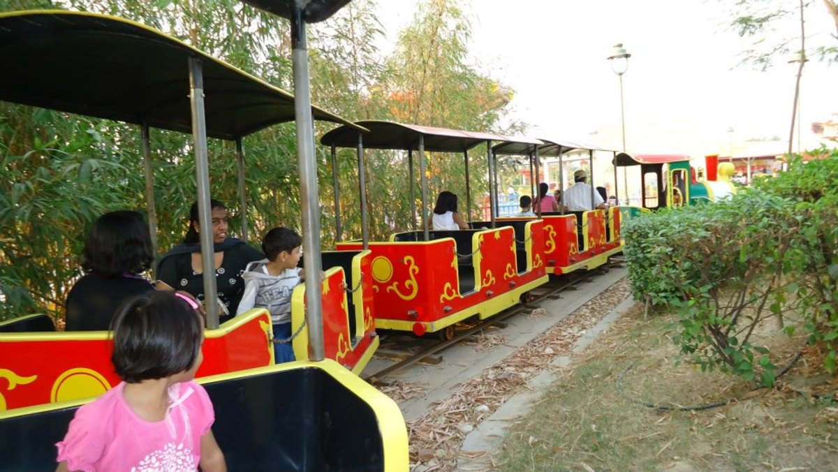 Train Ride in Adventure Island and Metro Walk Rohini.