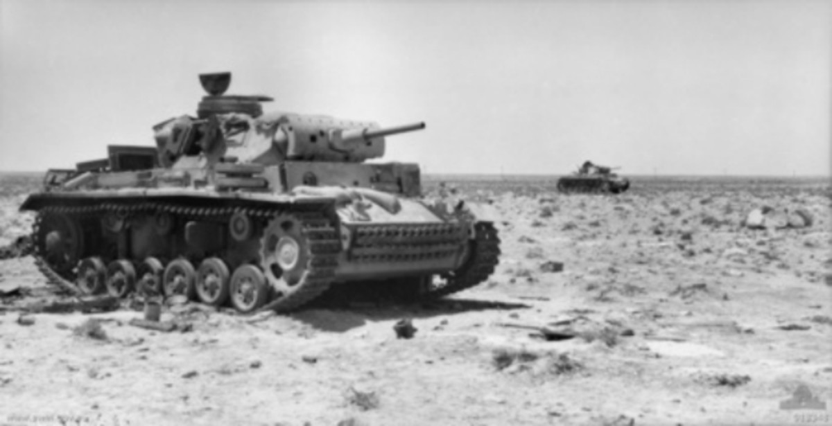 Destroyed Panzer IIIs at Tel el Eisa, near El Alamein (1942). Under new leadership and added with a massive infusion of new equipment from the United State, the British would turn the tide against Rommel.