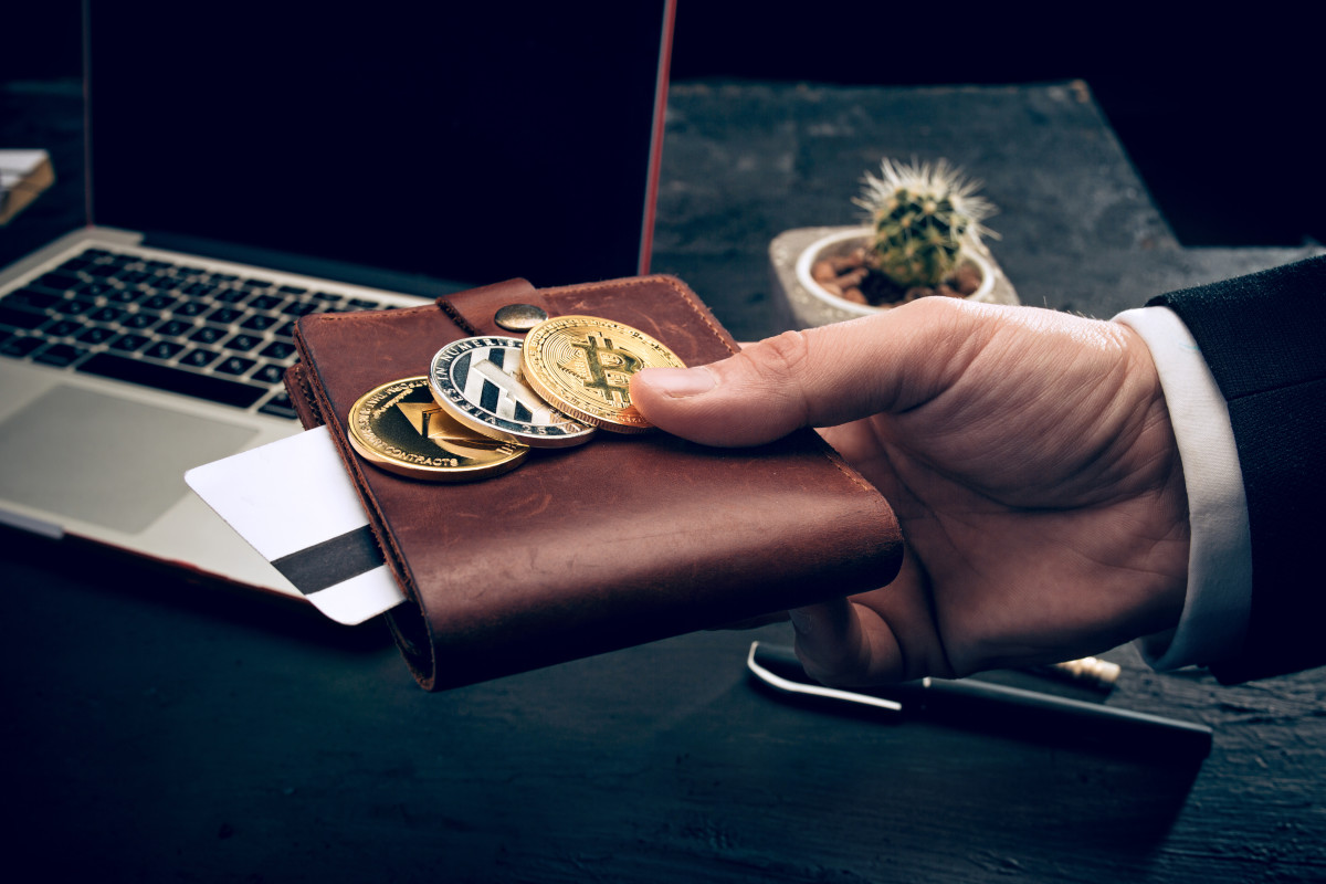 Bitcoin, Ethereum and Litecoin on top of a wallet.