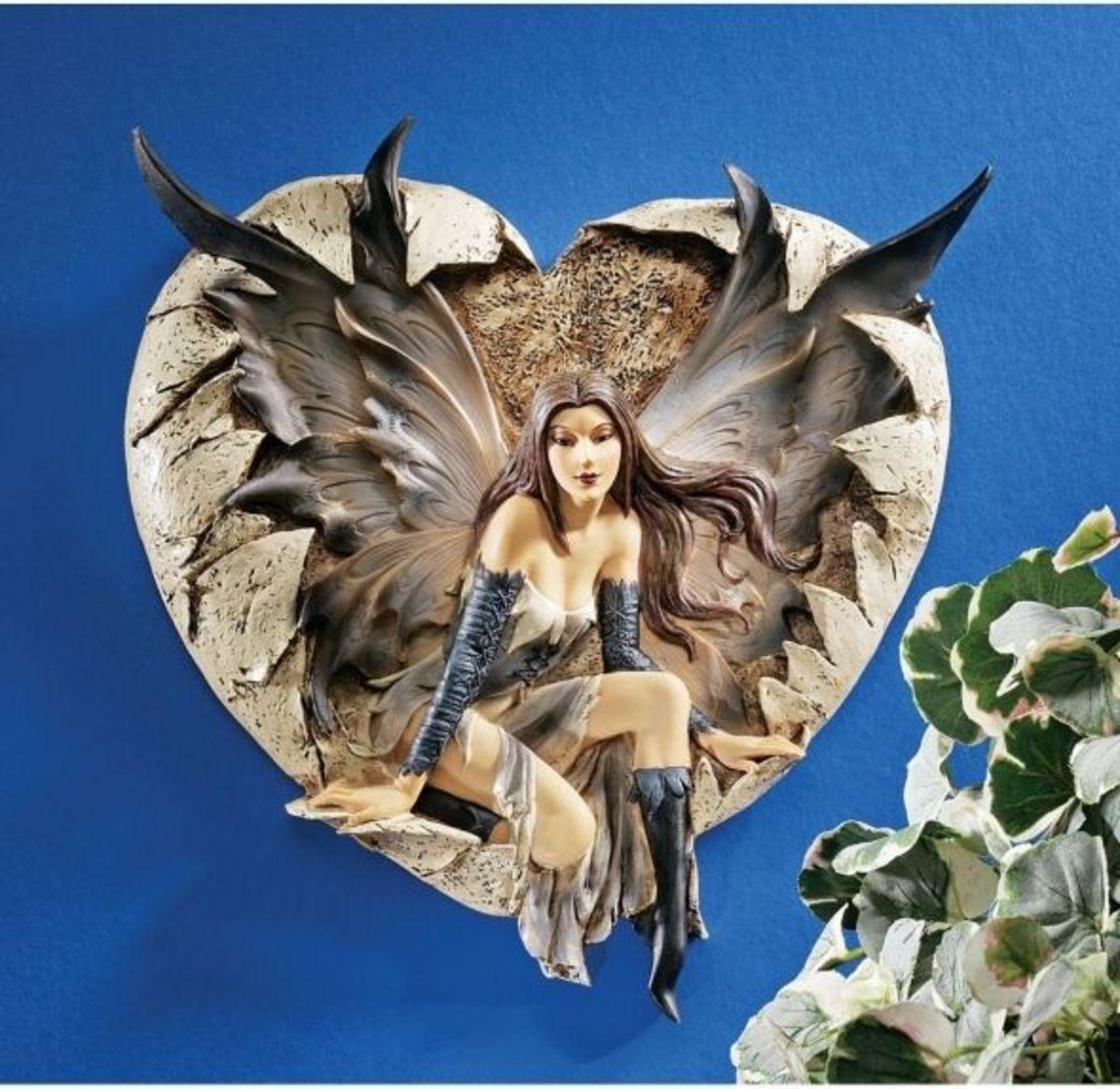 Dark Goth Valentine Fairy Plaque