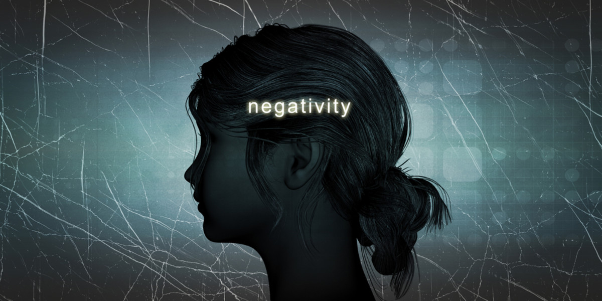 Woman Facing Negativity as a Personal Challenge Concept