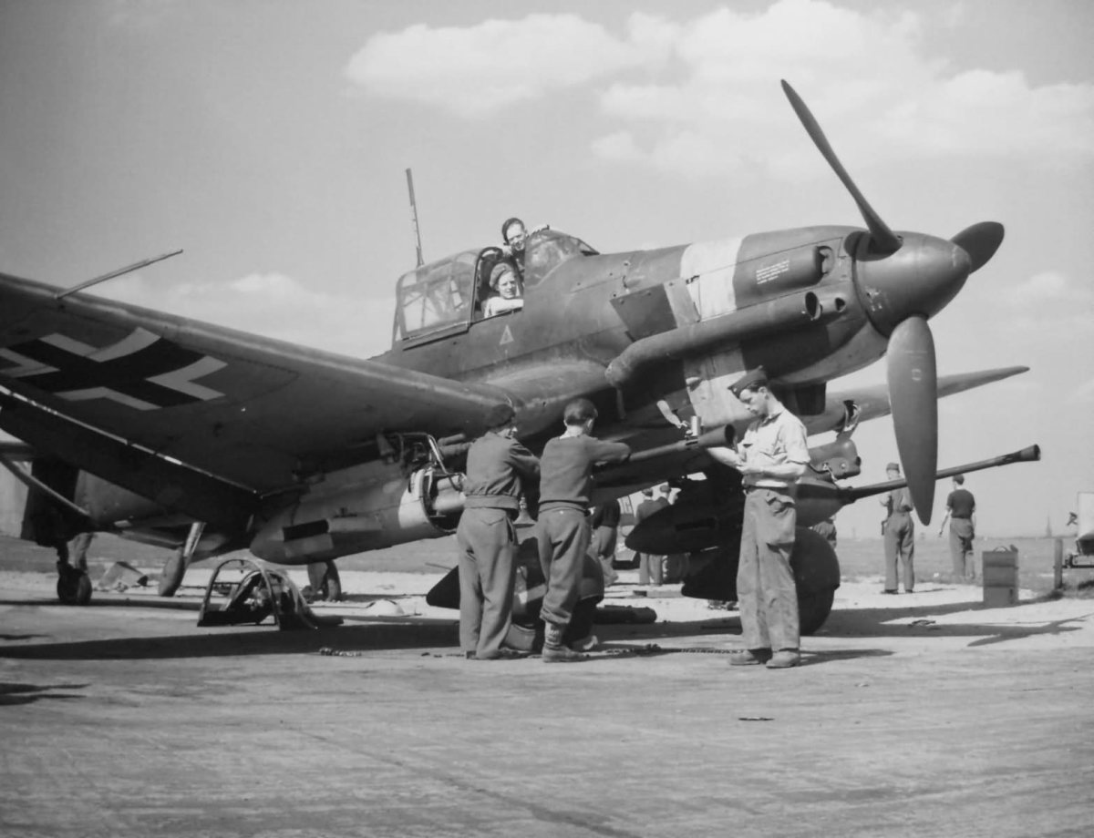 One of the few JU-87 tanks busters to survive seen in 1945 late in the war.