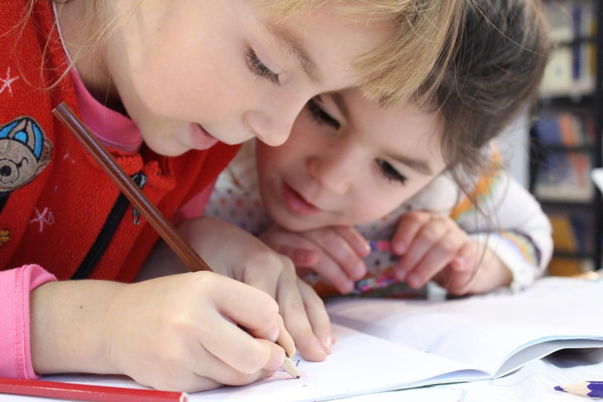 Children enjoying writing