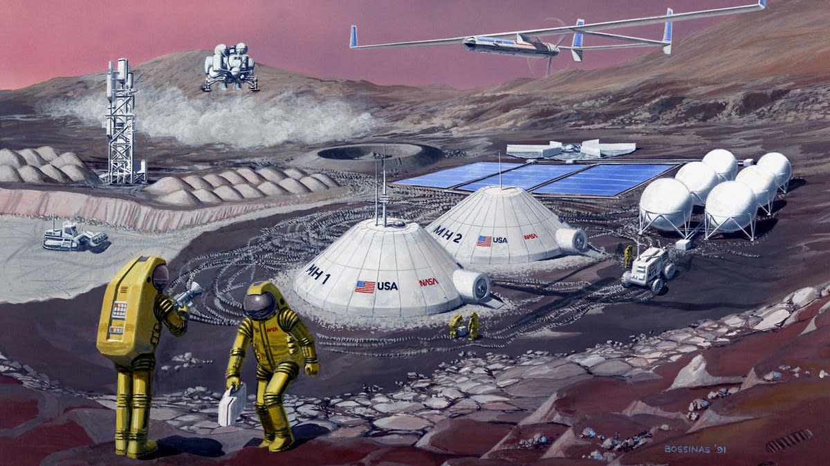 Concept Drawing of a Mars Base