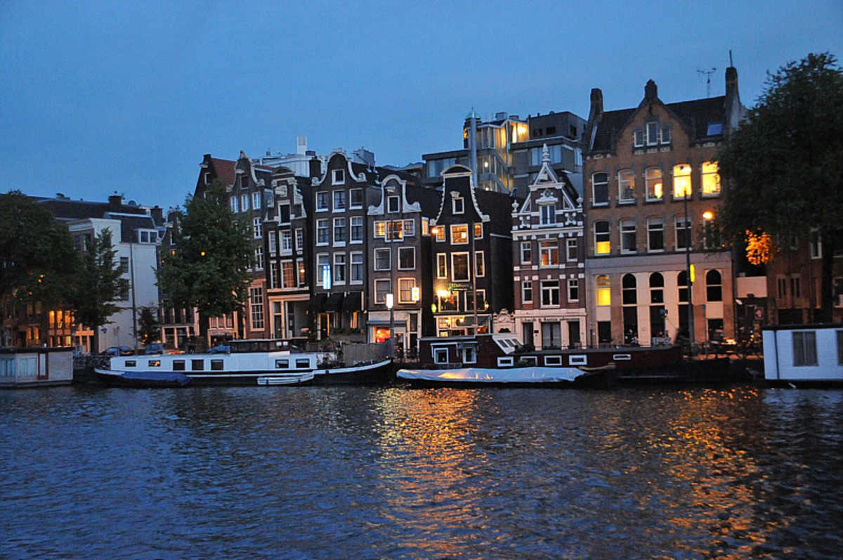 The Amstel River at night.