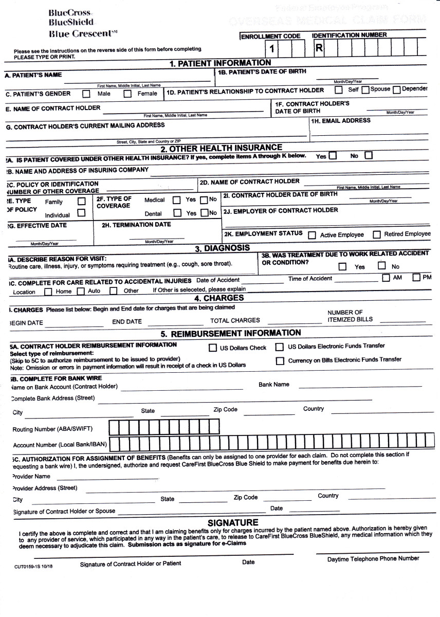 a Blue Cross Blue Shield overseas medical claim form