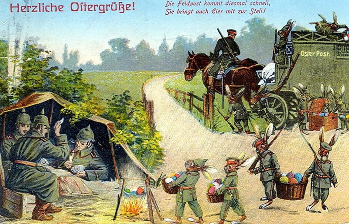 """This postcard is dated 1915. In Russian it says,  """"Easter greetings! The military mail` comes this time fast, it brings easter eggs at last.""""  Image #10"""