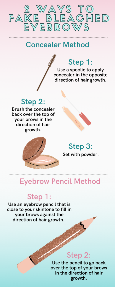Try the concealer method or eyebrow pencil method to fake bleached eyebrows.