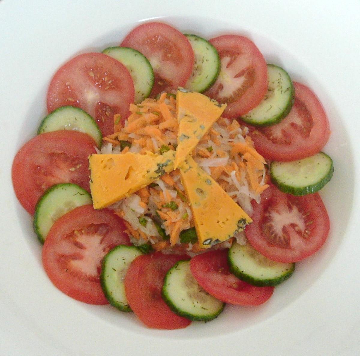 White turnip and Blacksticks Blue cheese salad