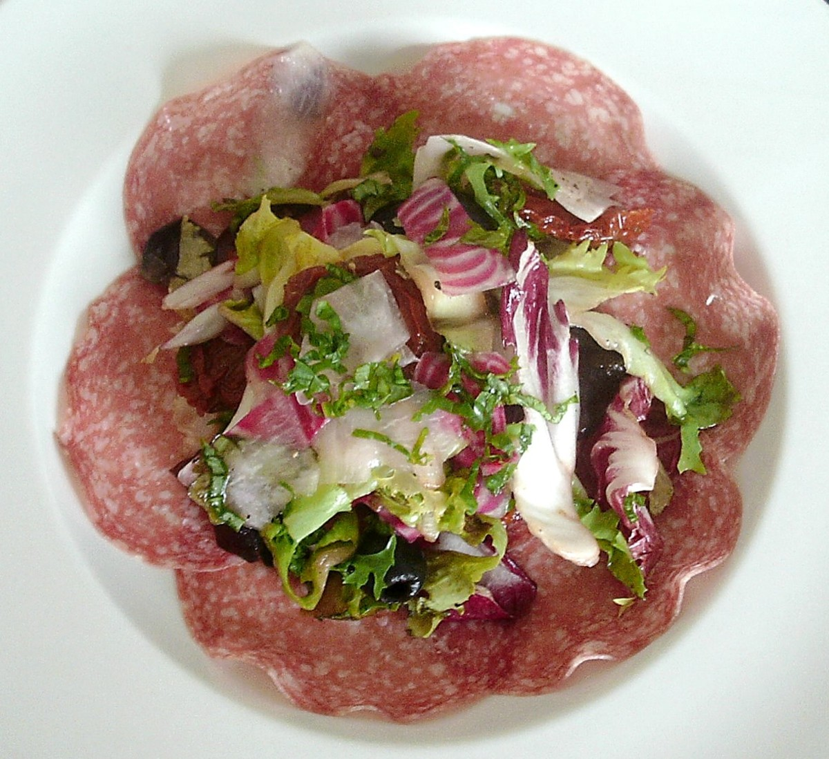 Shaved white turnip, chioggia beetroot and salami salad