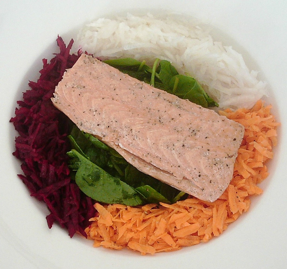White turnip, beetroot and spinach hot smoked salmon salad