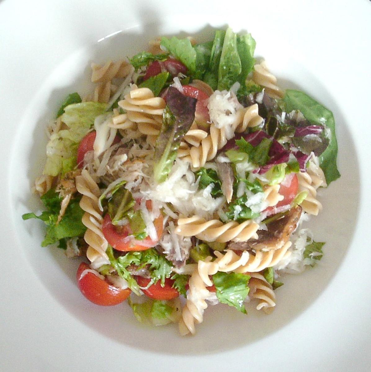White turnip, smoked mackerel and wholewheat fusilli (rotini) pasta salad