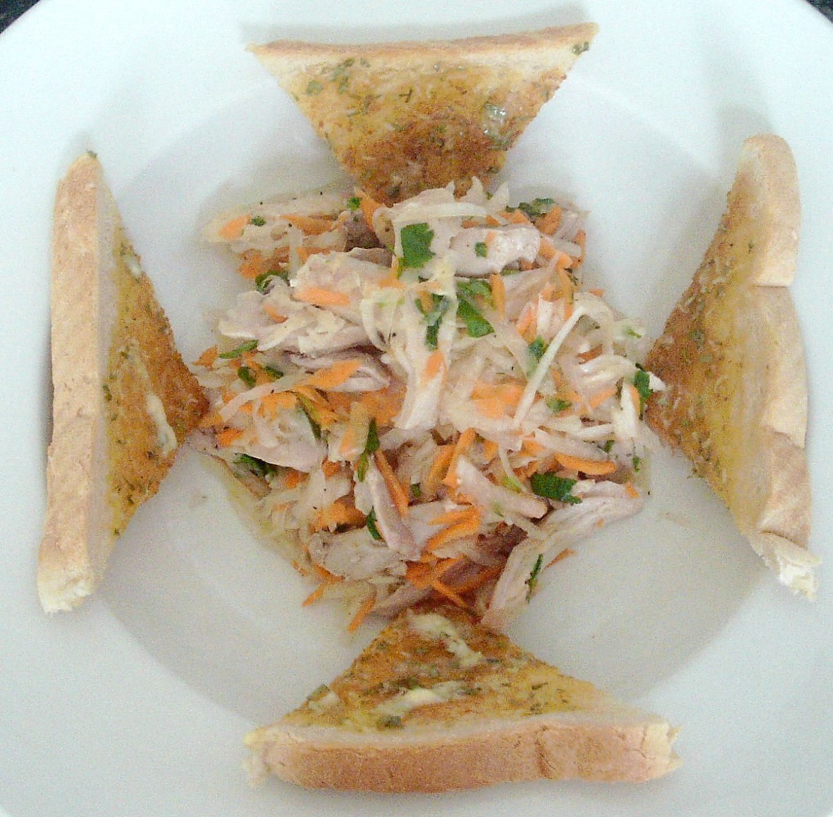 White turnip and roast chicken salad with garlic and tarragon toast