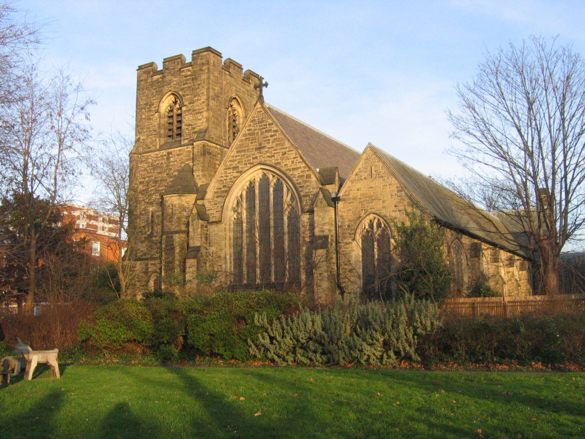 West front of St John the Divine parish church, High Path, Merton, London SW19, seen from Nelson Gardens