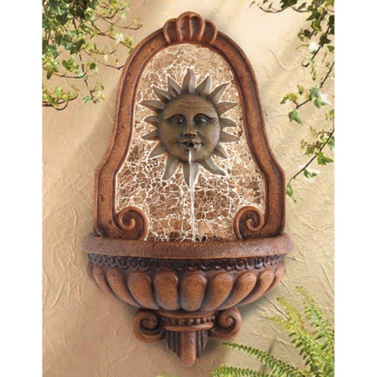 Alfresco Home Del Sol Wall Outdoor Fountain, Resin & Fiberglass