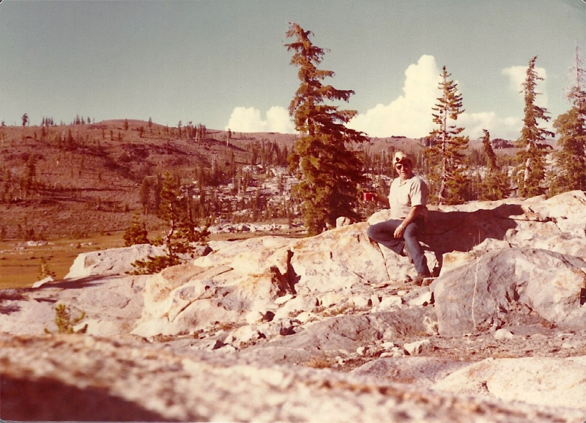 Dad loved the mountains.  Here he is high in the Sierra Nevadas.