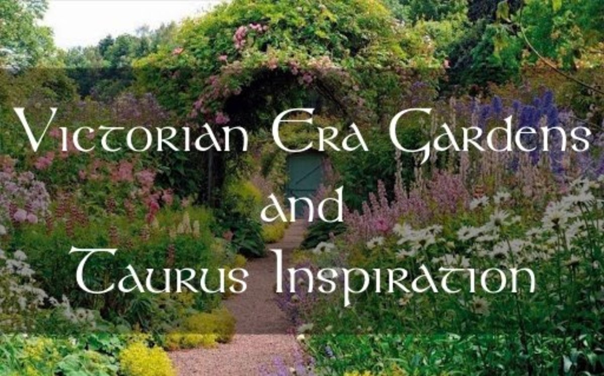 The Victorian Era garden style is perfect for a Taurus themed space. The Taurus is meant to be romantic, and the Victorians had a special knack for that: gorgeous greenhouses, gas lamps, arches, variety of plants, terracotta paths, stone birdbaths.