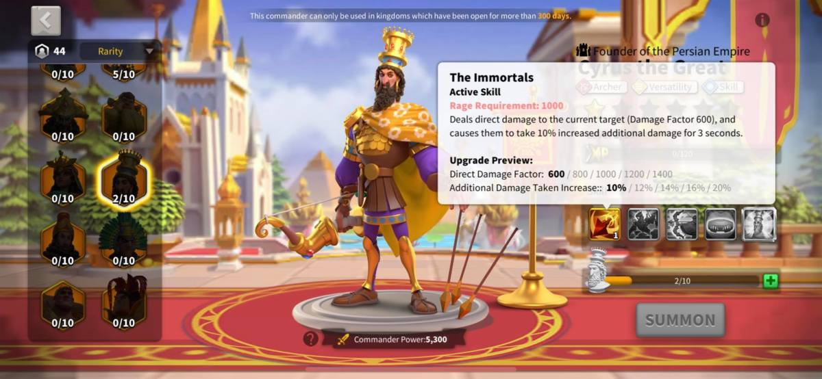 Cyrus the Great Active Skill Info