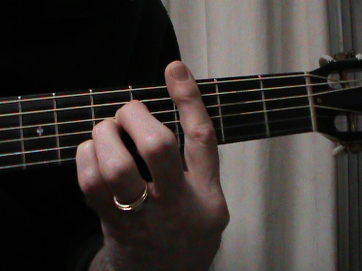 A shaped C Major chord fingering #1