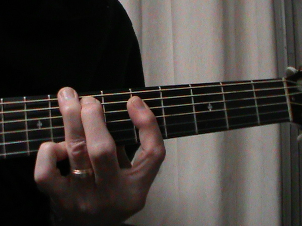 G shaped C Major chord with first finger barre