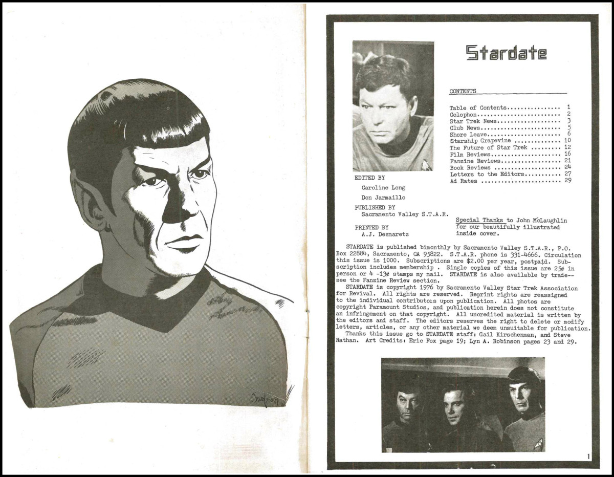 Stardate November 1976 Edited By Caroline Long, and Don Jarmaillo, Published by Sacramento Valley S.T.A.R. Brinted by A. J. Deamaretz.