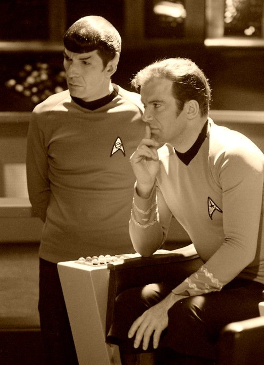 This is a an amazing photo of Mr. Spock and Captain Kirk in a deep and reflective mood.