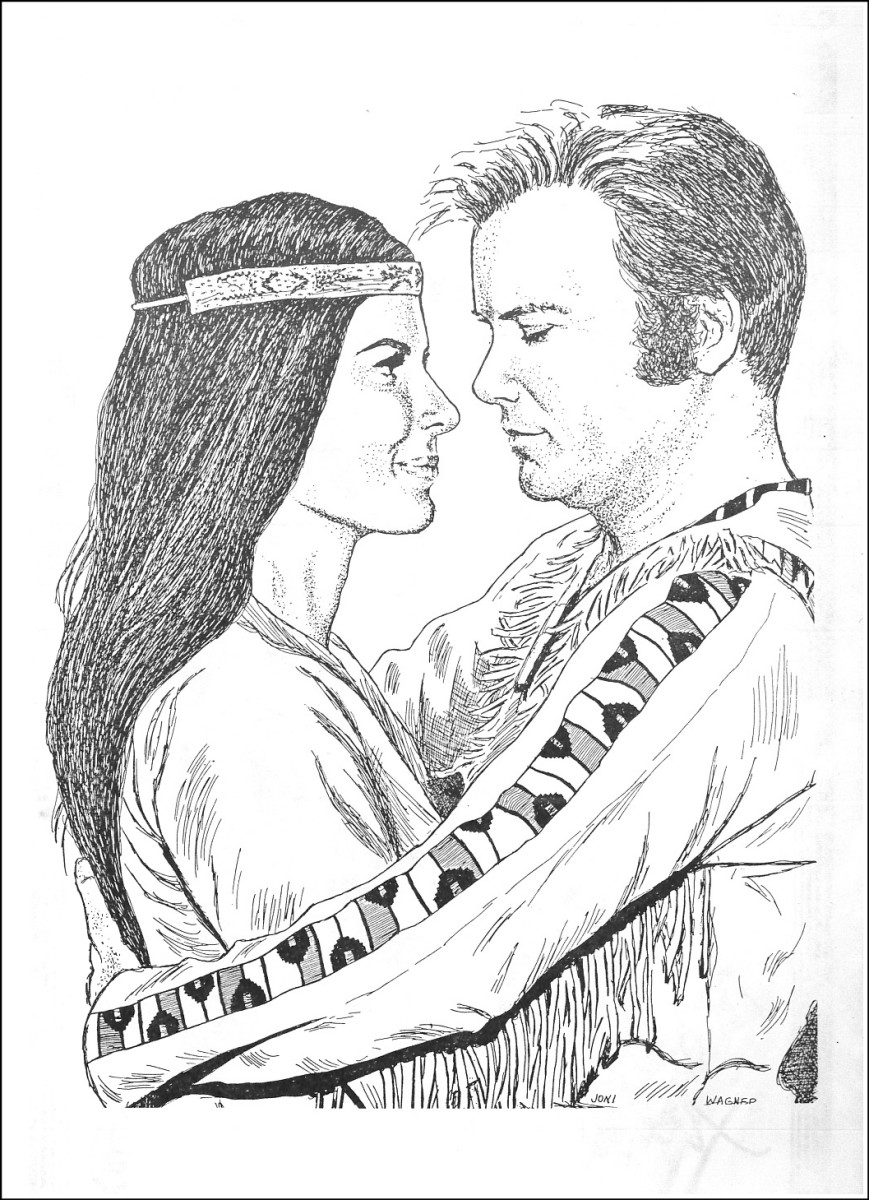 """More great artwork inside the front cover of STARDATE,  the special Star Trek Anniversary Issue...  This is from the episode """"The Paradise Syndrome"""" which aired in  the year 1968. Kirks Indian wife was named Miramanee, the actress Sabrina Scharf."""