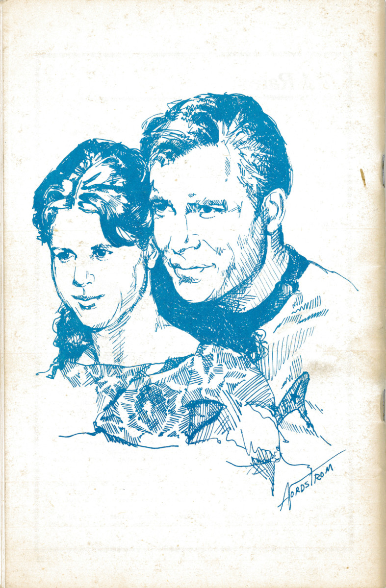 "The back covers of STARDATE 1976 Anniversary Issue with great artwork and attention to details. This artwork is about the episode ""Miri"" showing the young Kim Darby and William Shatner."
