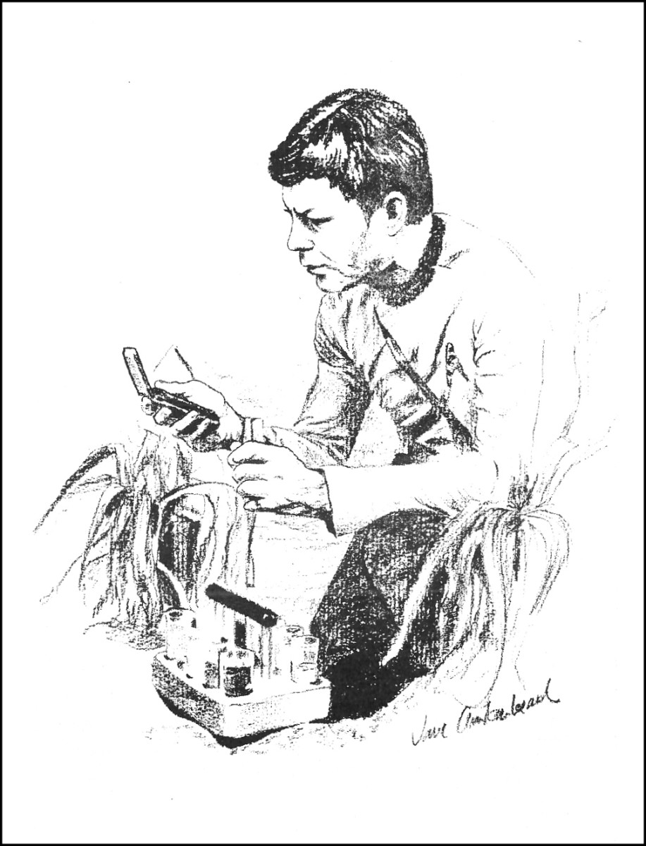Here is another fan made work of art in the pages of STARDATE the fan produced STAR TREK news magazine in 1976. This shows Dr. McCoy working on a problem.