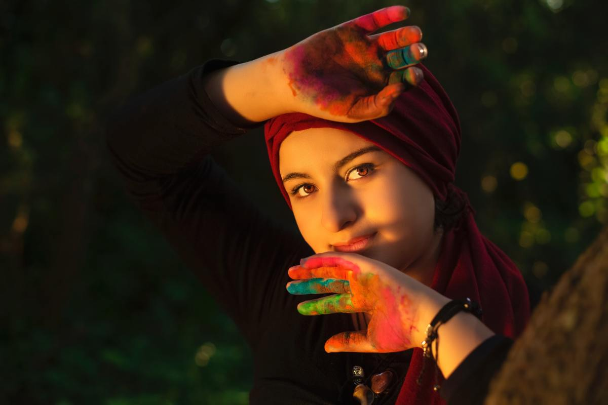 women's red headscarf photo