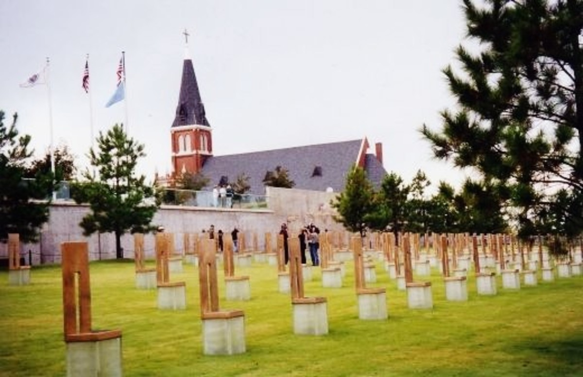 Chairs at the Oklahoma City National Memorial symbolizing every person who died.