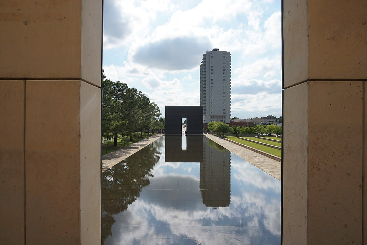 Looking towards the 9:03 gate at the Oklahoma City National Memorial